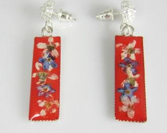 Forget Me Nots on Red  Earrings, Small Earrings,  Pressed Flower Earrings, Real Flower Jewelry,  Dangles,  Resin (1912)