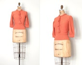 vintage 1930s sweater / 30s apricot wool tassel sweater / Jack Frost
