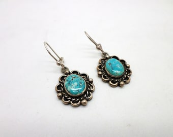 SALE Sweet Vintage Turquoise and Sterling Silver Dangle Earrings Southwestern Style Converted from Screw Backs