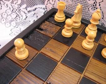 Recaimed Old Growth Oak Chess Set From 1830's Barn Beams