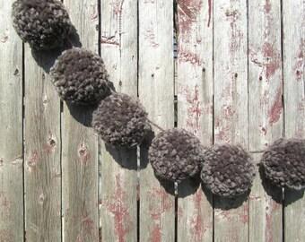 Taupe Pom Pom Garland/Bunting/Pom Pom Banner/Home Decor/Nursery Decor/Shower/Photo Prop
