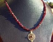 SALE CRIMSON BEAUTY Garnet & gold Dream catcher Necklace