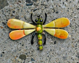 Dragonfly Brooch Metal Bug Green Yellow Enamel Pin Vintage 60s Costume Jewelry