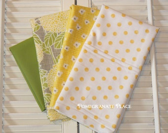 Remnant Bundle Kate and Birdie fabrics ... Storybook Collection and coordinating yellow and green Moda Fabrics , scrap bag