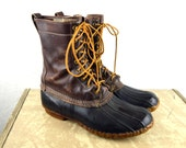 Vintage Distressed LL Bean Maine Hunting Duck Rain Boots - Leather and Rubber