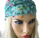 Turquoise floral headband, boho cotton hairband stretch headband with crochet edging and beads, floral turquoise bohemian hairband/turban