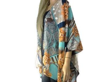 Boho Kimono- Geometric patch in blue and brown -Lagenlook style-Kimono cardigan -  Chiffon summer collection