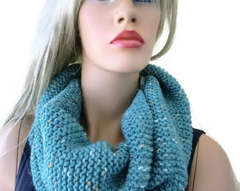 Robin's egg blue HARASHO winter infinity scarf,Hand knitted simplicity cowl, Warm winter scarf- best friend gift