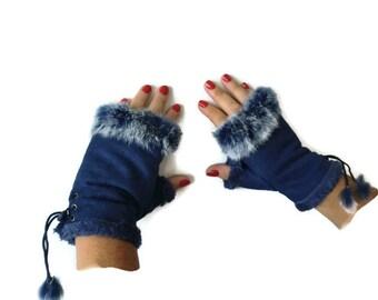 Faux fur winter gloves-Fingerless Gloves -Dark denim blue faux suede with fur trimming-Vegan leather-suede