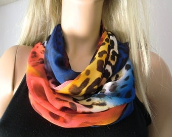 Chiffon infinity scarf-African sunset-Colorful animal print  chiffon infinity Scarf/ cowl -Instant gratification
