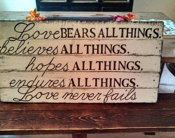Love is first corinthians wood sign home decor