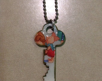 Disney's Piglet from Winnie the Pooh Altered Art Key Necklace