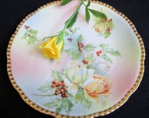 Prussia Royal Rudolstadt Plate, Rose and Holly, Floral 6 Inch plate, Beyer and Bock, German Porcelain, gold edge