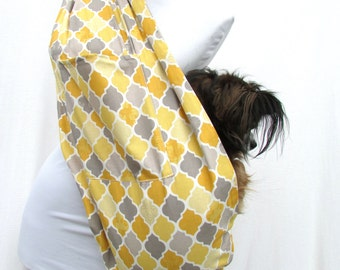 Pet Dog Sling Carrier Grey and Yellow Geometric Pattern with Shoulder Pocket