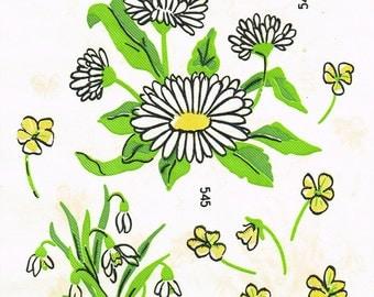 1950s Full Color Vintage Vogart Boho Flowers Uncut Hot Iron No Sew Transfer