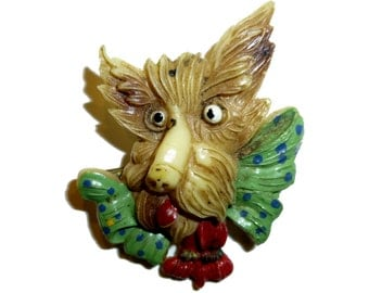 Ugly Celluloid Scottie Dog or Beast Pin. Oddity, Grotesque Face.  1940s. Brooch Probably Made in Japan. Yikes, That Nose!