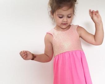 SALE--- PINK Sparkle, Sequin Dress, many sizes, kids boho dress, ready to ship