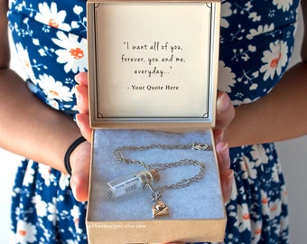 Your Quote in a Bottle Necklace - YOUR CHOICE - Message - Anniversary Birthday Gift - Custom Bottle Necklace - Ready to Gift - Ships Fast!