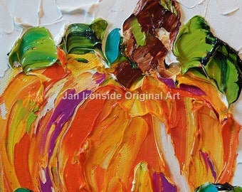 Pumpkin Painting , Oil Painting , Fall  Art , Home and Living,