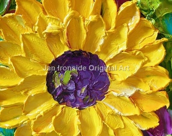 Oil Painting Impasto  oil Art  canvas Yellow Sunflowers