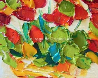 Oil Painting , Geranium, Palette Knife , Jan Ironside ,