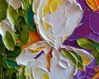 Original Oil , Oil Painting , White Iris on Canvas , palette knife , wall decor