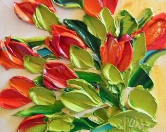 Original Oil Painting Red Tulips Impasto Palette Knife Art Oil