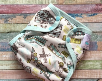 Antique Trains Polyester PUL Cloth Diaper Cover With Aplix Hook & Loop Or Snaps You Pick Size XS/Newborn, Small, Medium, Large, or One Size