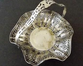 Silver Plate Apollo Basket, Bernard Rice's Sons Inc, Riveted, Swivel Handle, Cut Out Silver Design, 1930s, Metal Basket, Ornate, Vintage
