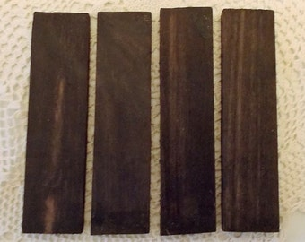 4 Pieces Of Macasser African Ebony Wood Make Letter Openers, Jewelry, Inlaid Wood Items