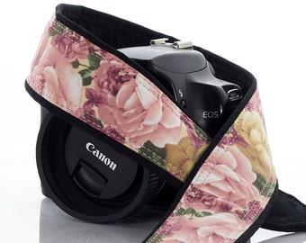 Roses dSLR Camera Strap, Vintage Pink and Gold Roses, SLR, 41