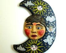 vintage MEXICO FOLK ART wooden sculpture,sun,angel,stars,clouds,sky,navy,blue,yellow,red,white,pink,aqua,black,light ochre,hand painted