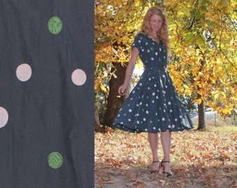 M / L Vintage 50s Day Dress Mad Men Style  Womens Medium Large Retro Handmade Penny Polka Dot Print Unique Neckline Excellent Condition