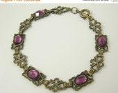ON SALE - 40% Off ON Sale Victorian Revival Purple Glass Bracelet