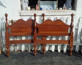 RESERVED PAIR of Twin Beds Classic Vintage MAPLE Headboard and Footboard Poppy Cottage Vintage Painted Furniture 4 Poster Twin Beds