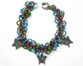 Butterfly bracelet, Multicolored chainmaille charm bracelet
