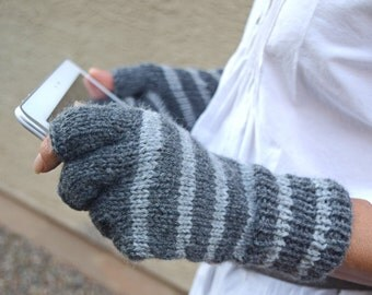 Knit fingerless gloves grey stripes arm warmers gift for her Christmas womans gift winter holidays gift under 40