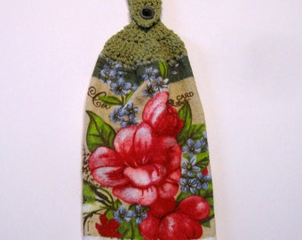 Flowers Hanging Towel, Kitchen supplies, Hostess Gift, Handmade by NormasTreasures