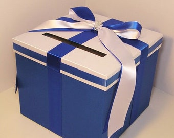 Wedding Card Box Royal Blue and White Gift Card Box Money Box Holder--Customize your color
