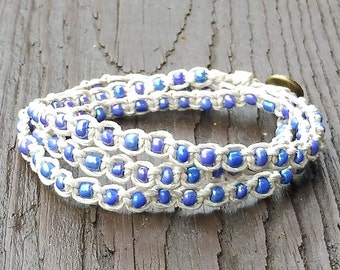 Blue Wrap Bracelet - Natural Hemp Wrap Bracelet, Iridescent Blue Glass Beads, 3x Wrap Bracelet, Macrame Bracelet