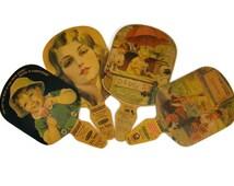 Hand Fan Vintage Advertising Fan Tums & Natures Remedy Set of 4 Cardboard Fans