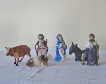 Vintage Plastic Nativity Figurines, Christmas Decorations, Mid Century 1950s 1960s Religious Figures, Partial Set Stable Animals Replacement