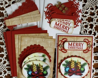 Hand Stamped Red and Tan Card with Hand Colored Candles, Balls and Bow -  Christmas Card Kit - 4 cards