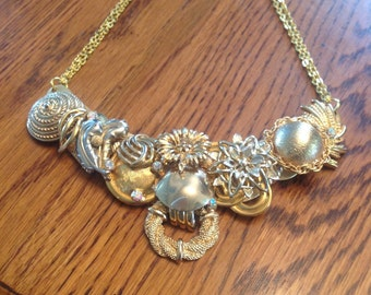 Gold up cycled vintage bib necklace