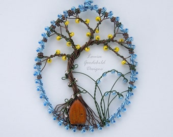 Bluebell House pendant, wire tree pendant, fairy door pendant, bluebell necklace, bluebell pendant, tree of life