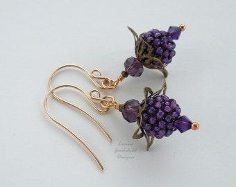 Purple berry earrings, berry earrings, berry jewelry, fruit jewellery, purple earrings, purple flower earrings, flower earrings