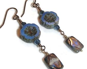 Czech Glass Flowers Blue Czech Glass Dangle Earrings E126