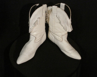 White Leather Fringed Boots Laredo Vintage Western Boots Size 5