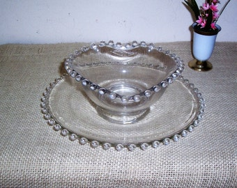 Vintage Candlewick Heart Bowl and Plate