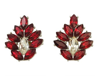 Huge Fabulous Y.S.L. Red Rhinestone Earrings